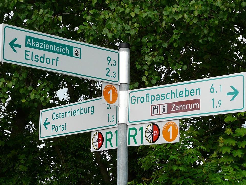 Fahnenwegweiser touristisches Leitsystem Sachsen-Anhalt