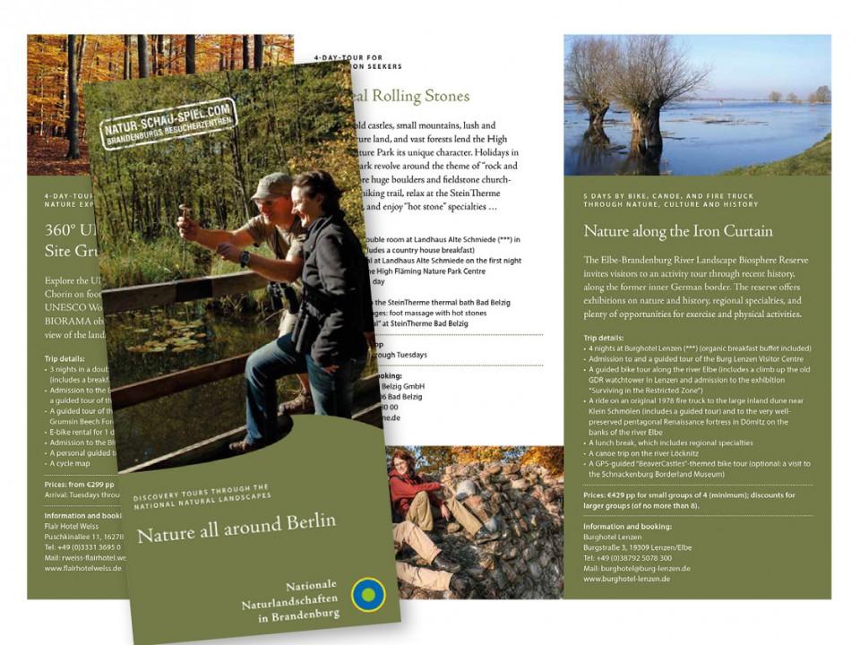 Flyer Besucherzentren der Nationalen Naturlandschaften Brandenburgs